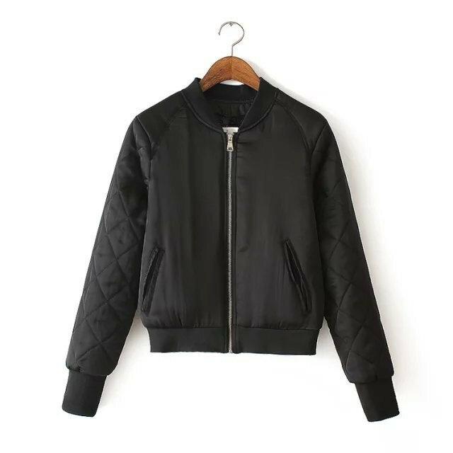 SLLSKY Winter Women Leather Bomber Jacket Aviator Jacket Warm Jacket Autumn Leather Coat Outwear