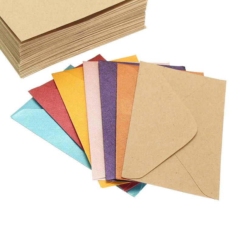 50Pcs Vintage Retro Kleine Farbige Leere Mini Papier Umschläge Hochzeit Party Einladung Umschlag Grußkarten Geschenk Umschlag