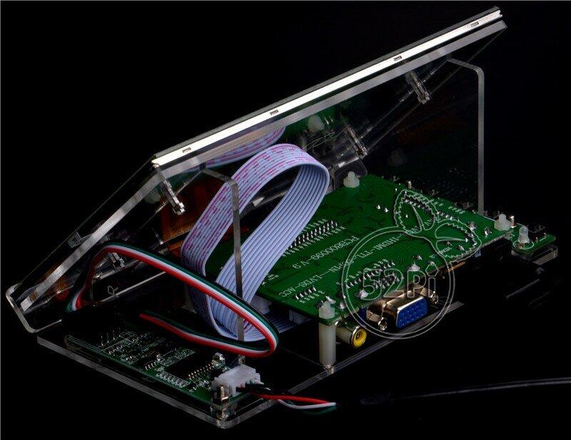 52Pi Raspberry Pi 4 B todo plataforma/PC 7 pulgadas 1024*600 pantalla LCD Pantalla de Monitor con placa de controlador y claro de acrílico soporte
