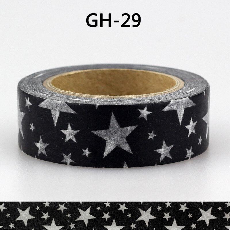 Ruban adhésif noir et blanc 1x15mm 10m, Lot de papier Washi décoratif autocollant bricolage, pour Scrapbooking, motif de fleurs et d'étoiles