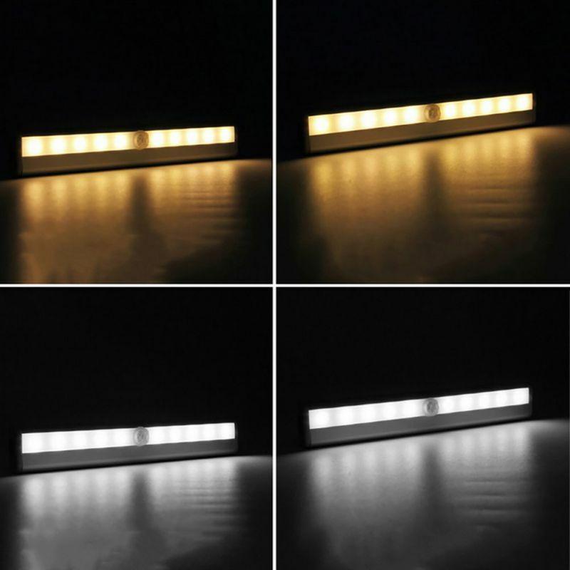 L0406 10 LED IR infrarouge mouvement armoire tiroir détecter lampe sans fil capteur placard armoire interrupteur de lumière pratique veilleuse