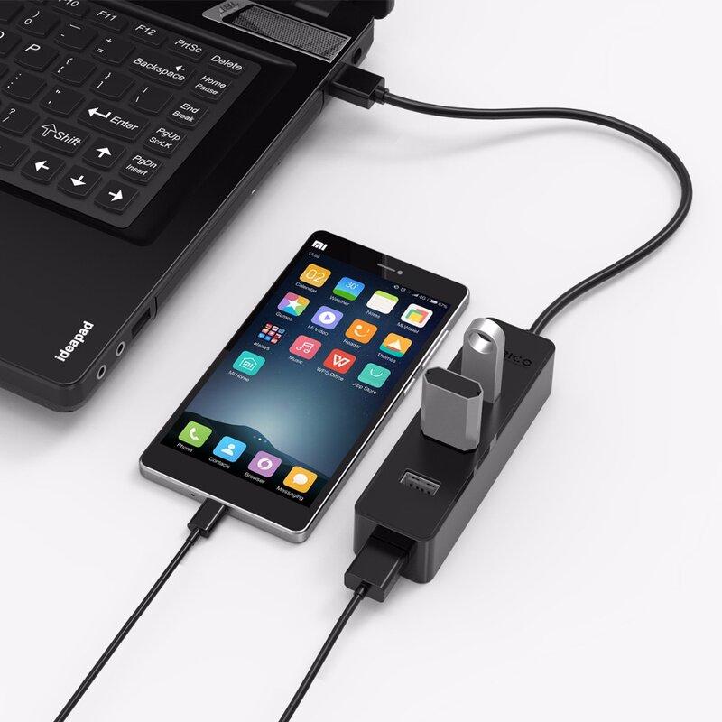 ORICO W5PH4-U3 USB 3.0 4 منافذ HUB 5Gbps عالية السرعة لأجهزة الكمبيوتر المحمول هاتف لوحي Ultrabook مع شرائح Vl812 أسود/أبيض