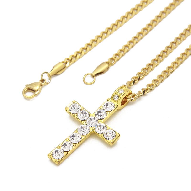 Jewel Town Mens Gold Plated Hip Hop Big Thin Slim Edge Design Cross Cz Stones Pendant 24 Inch 10mm Choker Rope Chain