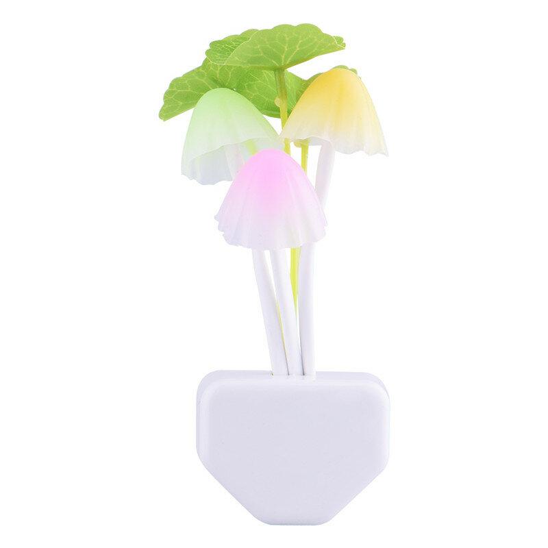 Luz LED colorida romántica de 110-220V, 3 LEDS, seta con luz para la noche, lámpara para iluminación del hogar, sensor de luz, arranque automático, enchufe europeo y estadounidense