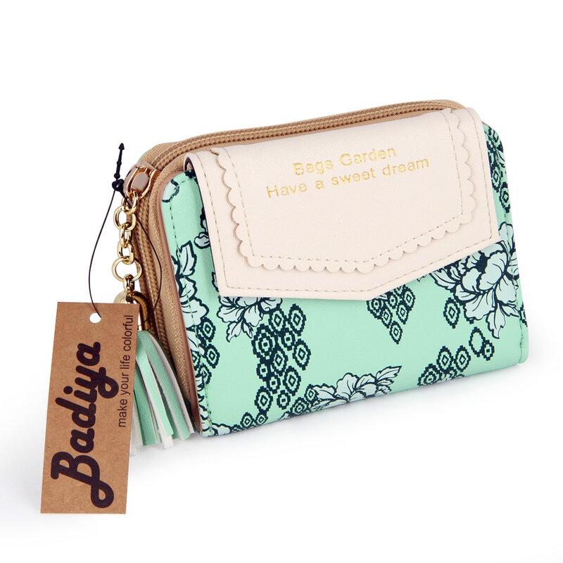 Portafoglio piccolo floreale Vintage da donna borse da donna dolci borsa a nappa con fiore Bifold per porta carte da donna portafogli per carte corte regalo