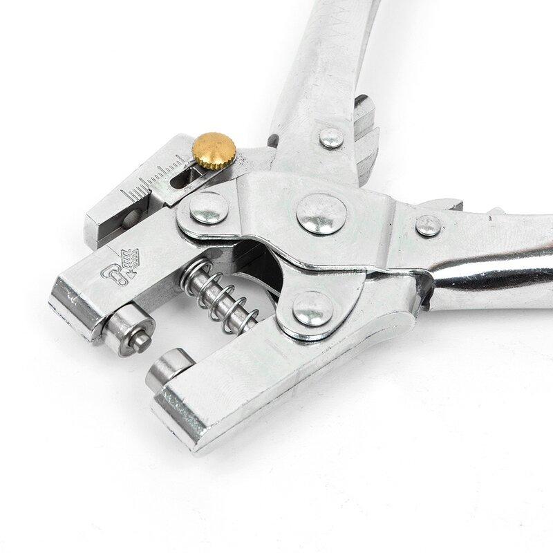كماشة يدوية بثقوب وثقب على شكل حلقة ، أداة تثقيب ذات طيات وثقب مع 100 قطعة من الثقوب سهلة الضغط