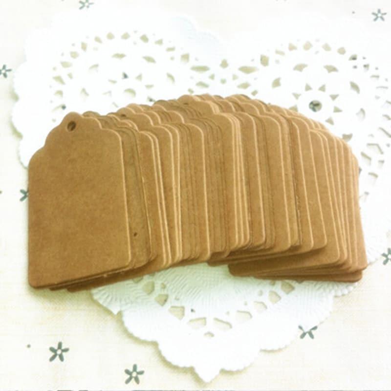 100 pièces bricolage brun dentelle Kraft papier étiquettes pétoncle tête étiquette bagages mariage Note blanc prix étiquette volante Kraft cadeau 5x3cm