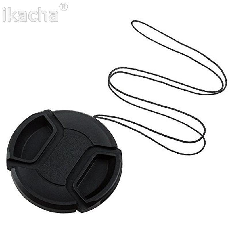 Couvercle de Protection pour capuchon d'objectif d'appareil photo 49mm/52mm/55mm/58mm/62mm/67mm/72mm/77mm/avec corde Anti-perte