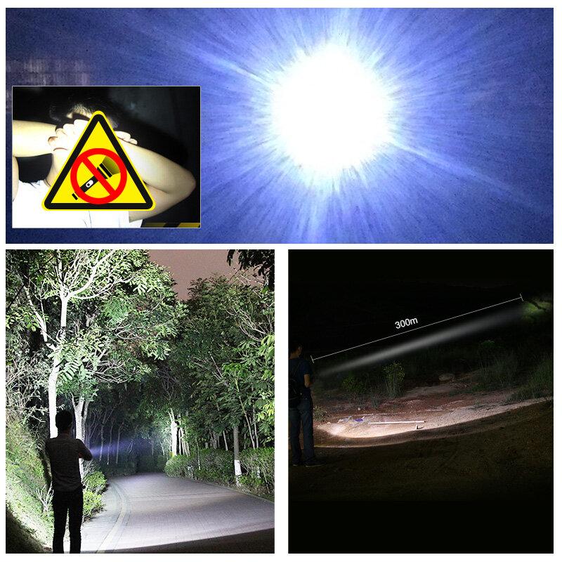Linterna táctica impermeable 1800mAh 18650 luz de Flash recargable Cree XP-E LED linterna táctil cabeza de loto Metal