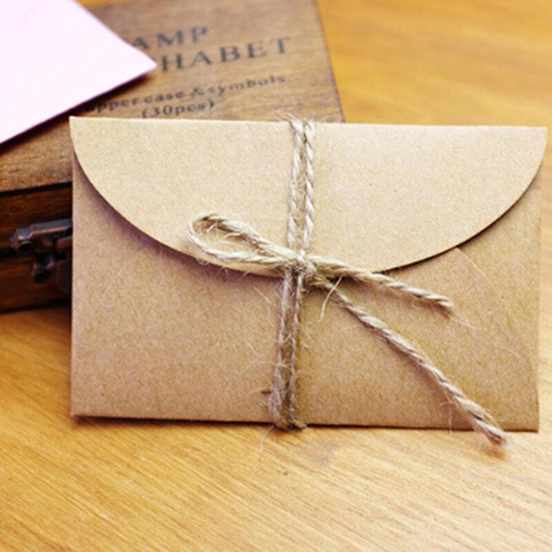 40 unids/set Vintage amor pequeño Rosa marrón Kraft minisobres de papel en blanco de la boda de sobre de Invitación/dorado sobre/2 color