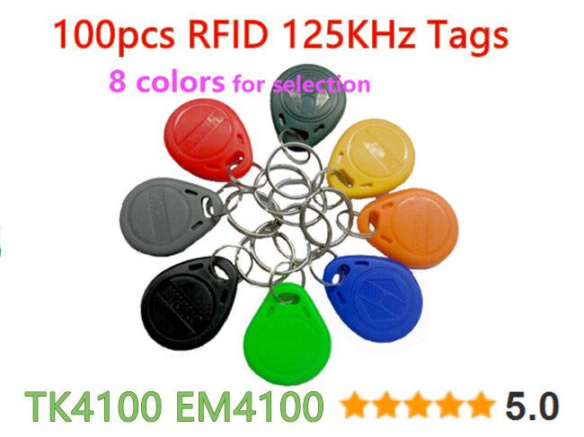 100 pcs 125 khz rfid 태그 근접 식 keyfobs 액세스 제어 카드 액세스 제어 시간 출석에 대 한 8 색