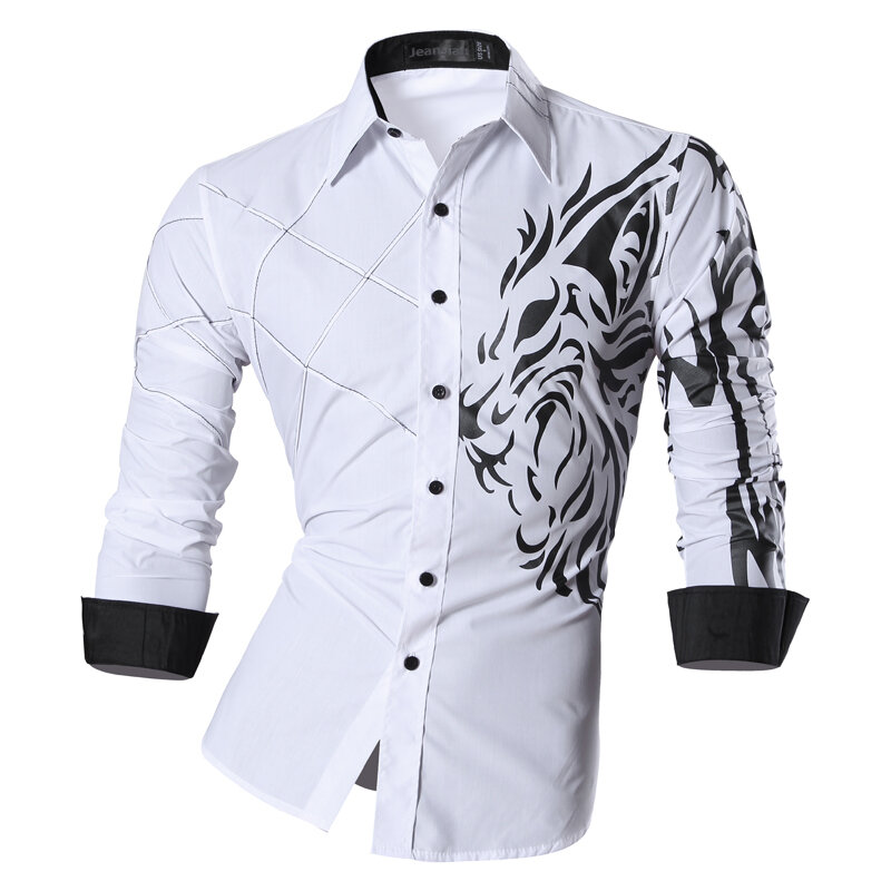 Jeansian Men S Fashion Dress Shirts Casual Long Sleeve Slim Fit Tatoo Stylish Z030 Bestdealplus