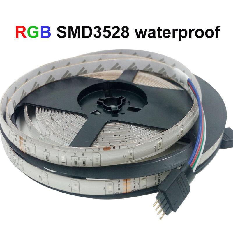 5 m 10 m 15 m 20 m SMD 2835 RGB LED de luz de tira flexible led cinta de cinta impermeable 220 V 24key controlador DC 12 V adaptador conjunto