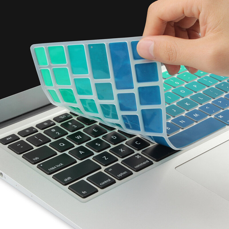 2020 New Silicone Skin Us English Alphabet Keyboard Cover for 2016 MacBook Pro Retina 13 15 with Touch Id and Best-Silver