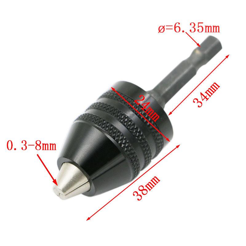 """1pc 0.3-8mm 블랙 키리스 드릴 척 드라이버 임팩트 드라이버 어댑터 1/4 """"6.35mm 육각 섕크 드릴 비트 직경 전동 공구"""
