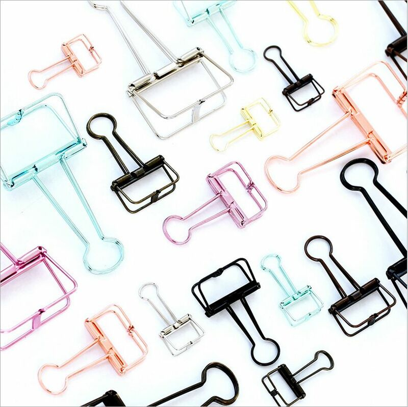 Base solide couleur évider métal liant Clips Notes lettre trombone outil d'apprentissage bricolage signet fournitures de bureau Clip de fixation
