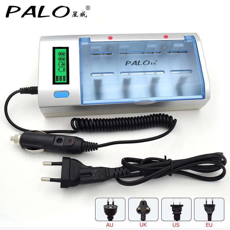 PALO AA AAA C D شاحن بطارية 4 فتحة LCD شاحن بطارية ل 1.2 فولت AA AAA C D بطارية قابلة للشحن شاحن بطارية