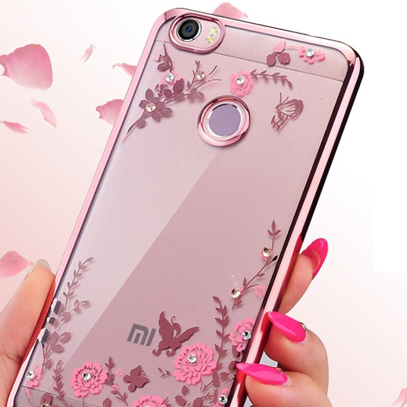 Case For Xiaomi Redmi 4x 4a 5 Plus 5a 6 Pro S2 Note 3 4 5 6 Pro Note 7 6a Cover Bling Diamond Tpu Soft Flower Jelly Plating Case Bestdealplus