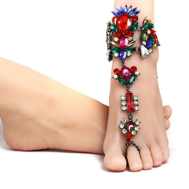 Silver Anklets for Women Foot Jewelry Summer Beach Barefoot Sandals Bracelet Ankle on The Leg Female Ankle Bohemian Accessories 1 PCs TTO Anklets