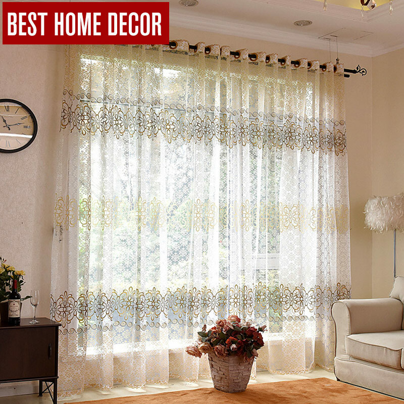 Tenda per finestra in Tulle trasparente floreale Elka per soggiorno la camera da letto tende di Tulle di lusso moderne per tende in tessuto per tende da finestra