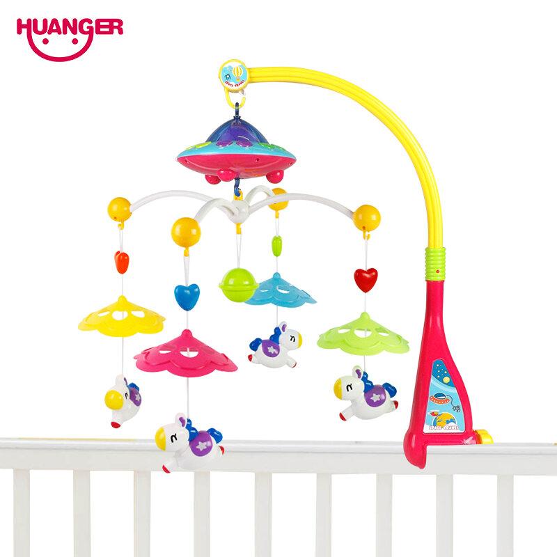 Huanger Musical Berceau Mobile Lit Cloche Bébé Hochet Rotation Support Projection Jouets pour 0-12 Mois Nouveau-Né Enfants Baptême cadeau
