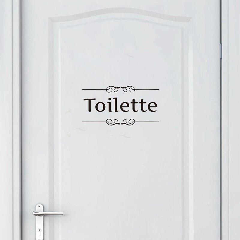 Envío Gratis pegatina de pared Vintage decoración de baño Puerta de baño vinilo calcomanía transferencia decoración Vintage cita arte de pared
