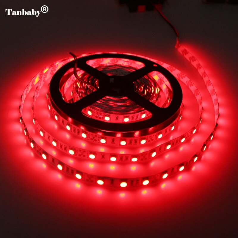 Tira de LED 5050 no resistente al agua DC12V 60LEDs/m 5 m/lote de luz LED Flexible RGB 5050 tira de LED lámparas de decoración del hogar