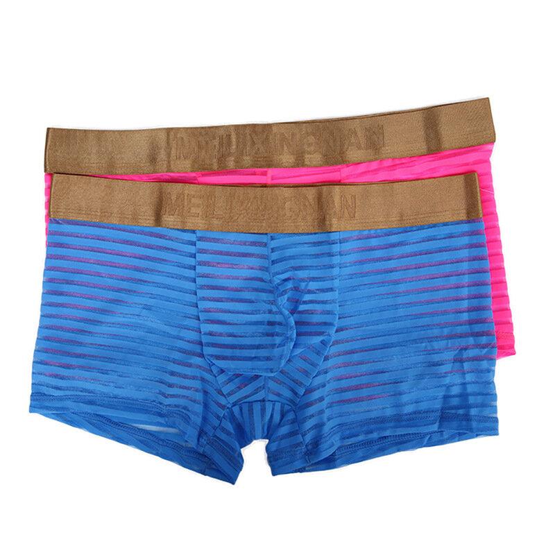 Mens Underwear Transparent Boxers Men Mesh Sheer Striped Underwear See Through Underpants Boxer Shorts Mesh Trunk
