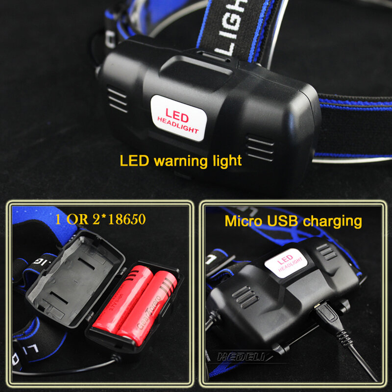 Usb sensore di led del faro del cree del faro xm l t6 xm-l2 impermeabile zoom testa della lampada 18650 batteria ricaricabile testa della torcia elettrica della torcia