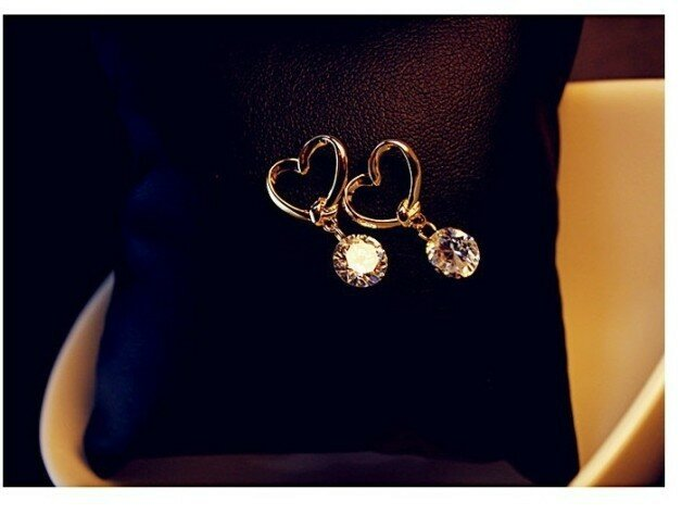 e020  Brand Design New hot Fashion Popular Luxury Crystal Zircon Stud Heart Earrings Elegant earrings jewelry for women 2016