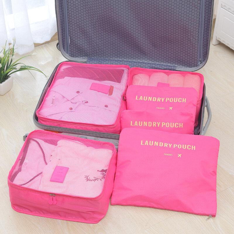 6 개/대 패션 더블 지퍼 방수 폴리 에스터 남자와 여자 짐 여행 가방 포장 큐브