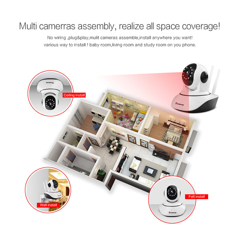 ZGWANG-caméra de Surveillance extérieure IP Wifi HD 720P, dispositif de sécurité sans fil, babyphone vidéo vidéo vidéo sans fil, avec système infrarouge et audio bidirectionnel