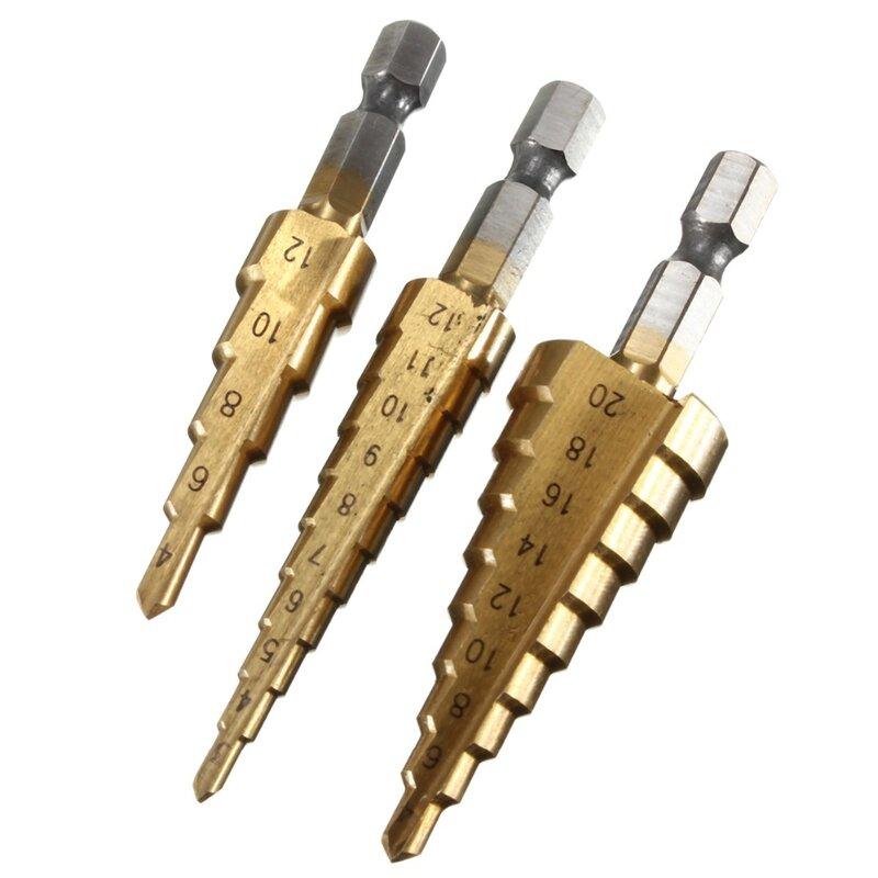 Drillpro 1 pz Titanio HSS Step Drill Bit per Legno 4-12mm 4-20mm 4- 32mm del Metallo di Perforazione per La Lavorazione Del Legno Utensili elettrici Prezzo All'ingrosso
