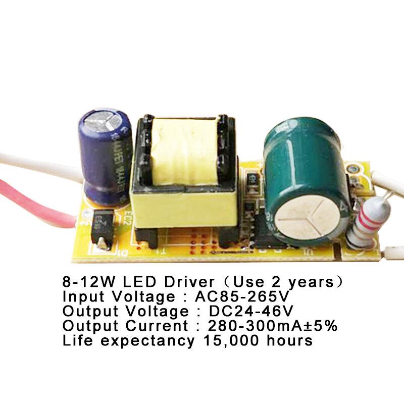 1-3W,4-7W,8-12W,15-18W,20-24W, fuente de alimentación del controlador LED, iluminación de corriente constante integrada, 85-265V, transformador de 300mA de salida, 25-36W