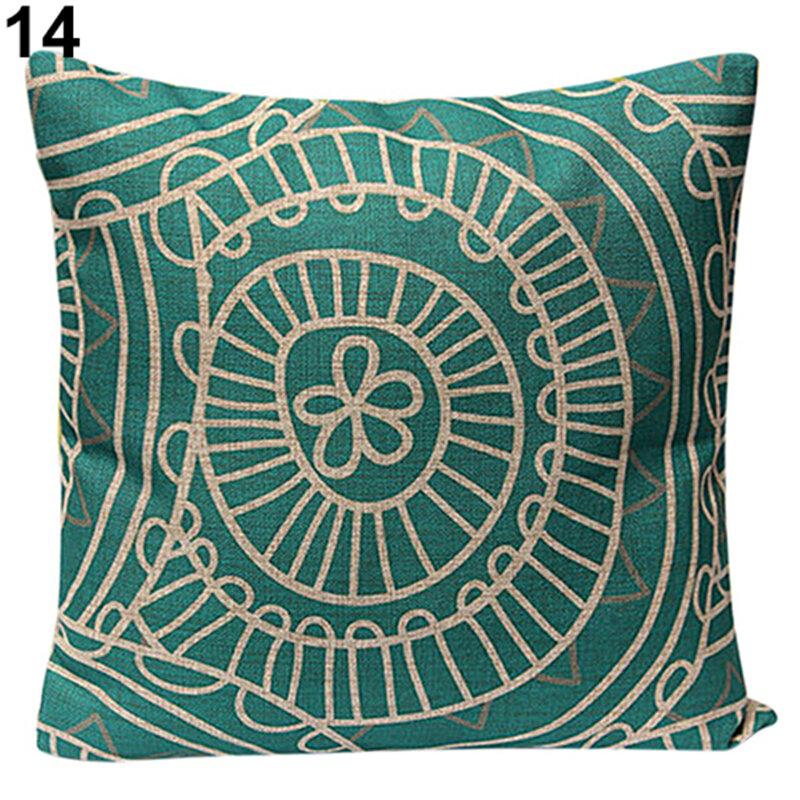 45*45cm 크리스마스 코튼 린넨 던지기 베개 커버 홈 소파 부드러운 빈티지 기하학 꽃 쿠션 커버