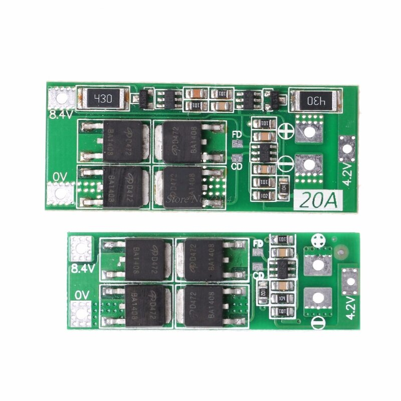 Details about  /2S 20A 7.4V 8.4V Li-ion Lithium Battery 18650 Charger PCB BMS Protection Board