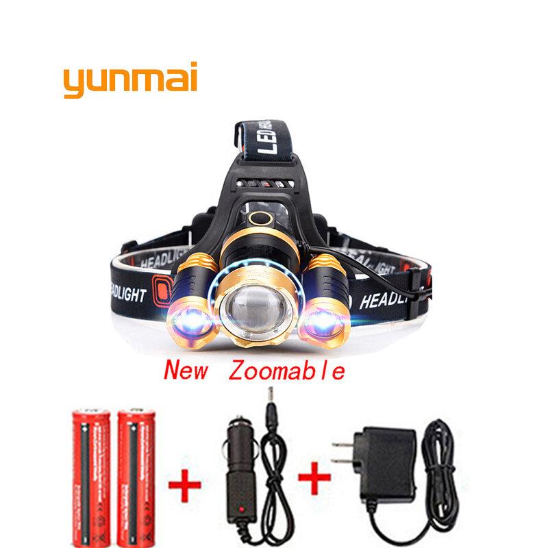 T6 Xm-L + 2Q5 Led Scheinwerfer 8000Lm Scheinwerfer Taschenlampe Kopf Taschenlampe Linterna NEUE Xml T6 18650 Batterie/ ac Auto Ladegerät Angeln Licht