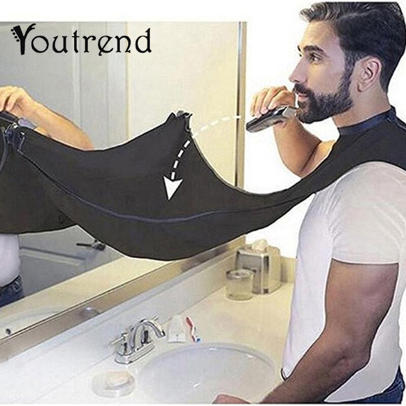Pongee-delantal de afeitarse para el cuidado de la barba, recortador de pechera, capa para pelo, fregadero, negro, blanco, herramienta de limpieza, protección de limpieza del hogar