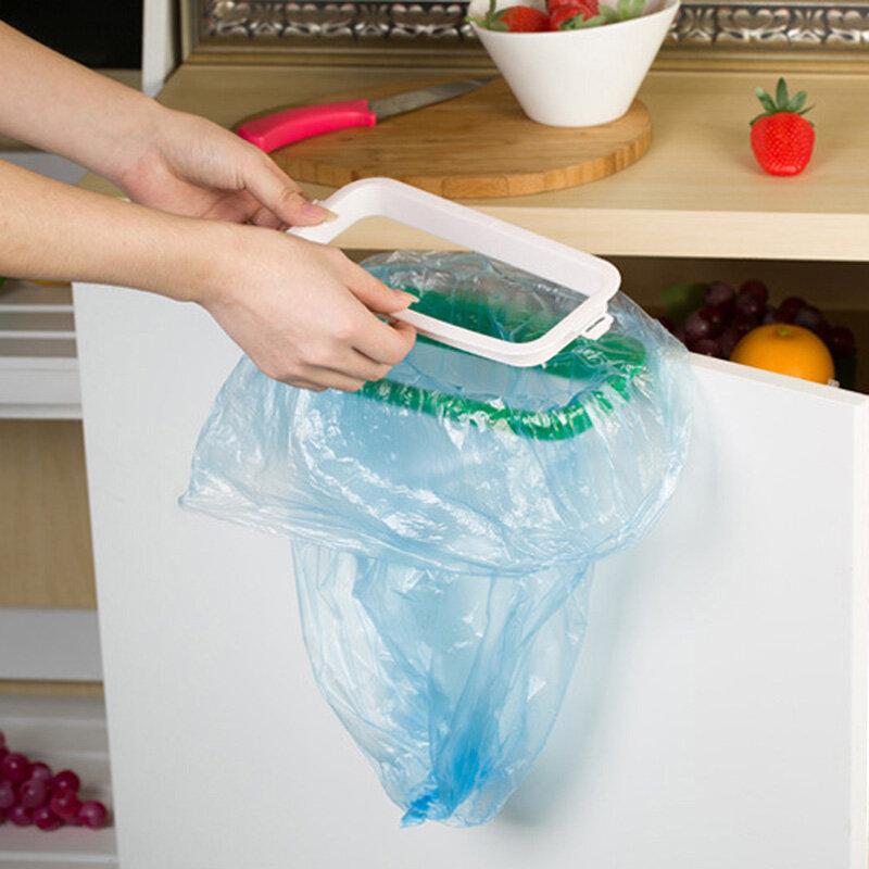찬장 문 뒤 쓰레기 선반 저장 쓰레기 봉투 홀더 교수형 부엌 캐비닛 교수형 쓰레기 랙 주방 도구