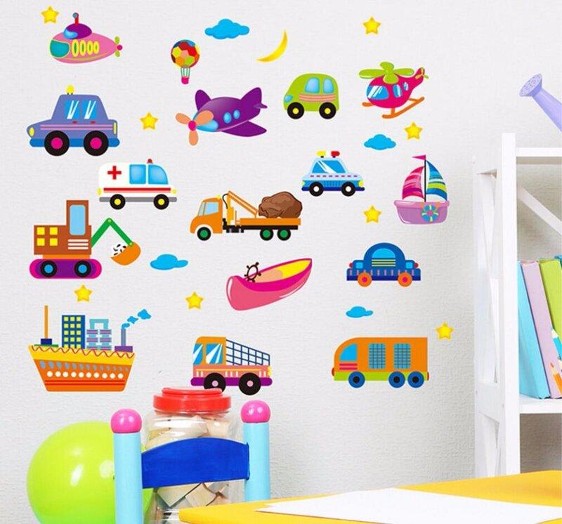 만화 자동차 어린이 방 벽 스티커 어린이 방 소년 침실 벽 데칼 창 포스터 3d 자동차 벽 스티커 바탕 화면