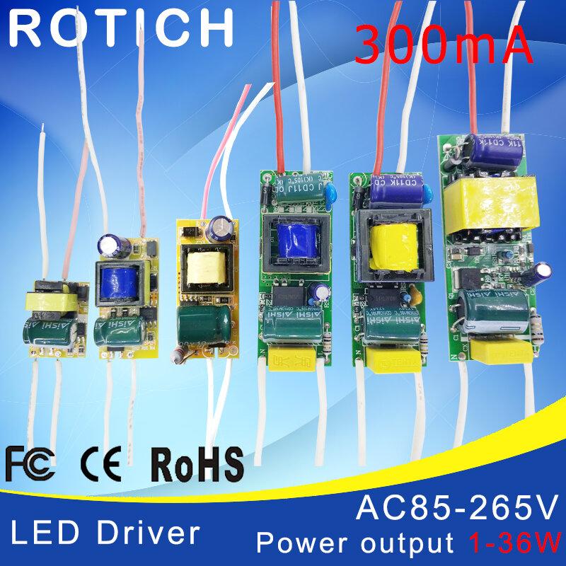1-3 W, 4-7 W, 8-12 W, 15-18 W, 20-24 W, 25-36W HA CONDOTTO il driver di alimentazione built-in costante corrente di Illuminazione 85-265V di Uscita 300mA Trasformatore