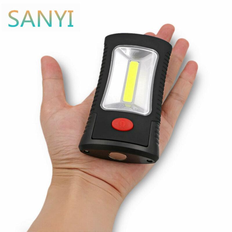 SANYI Multifunktionale Tragbare COB LED Magnetische Klapp Haken Arbeits Inspektion licht taschenlampe Lanterna lampe VERWENDEN 3xAAA