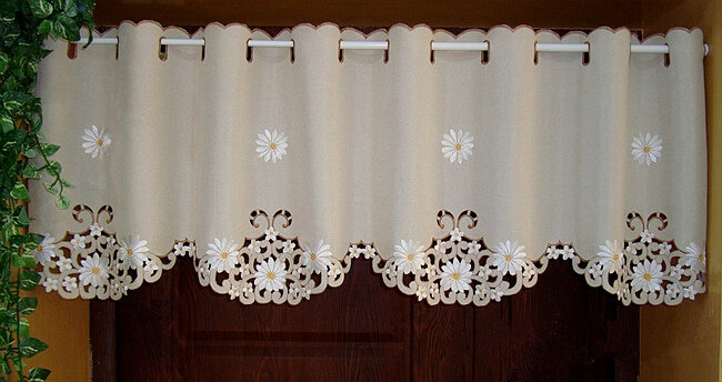 Mezza tenda britannica girasole ricamato finestra mantovana orlo cavo ombreggiatura leggera tenda oscurante per porta dell'armadio da cucina