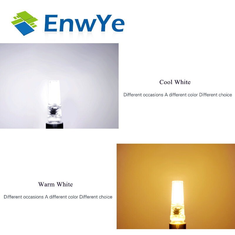 EnwYe-G4 G9 LED Bulb ، AC/DC ، 12V ، 220V ، 3W ، 6W ، COB ، SMD ، استبدال لمبة الهالوجين ، الثريا