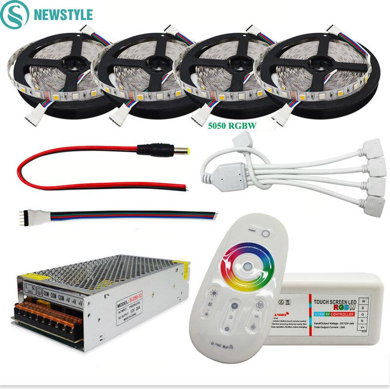 DC12V 5050 striscia LED impermeabile RGB RGBW Led luce flessibile nastro Touch telecomando 12V Kit adattatore di alimentazione 30M 20M 10M 5M