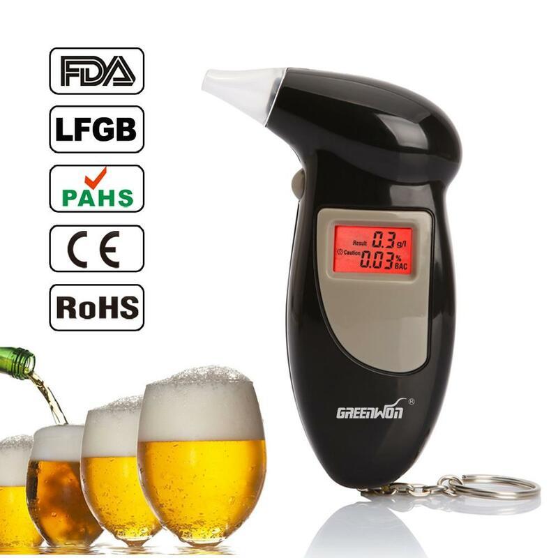 GREENWON-pantalla LED HUALIXIN, probador de Alcohol de soplado, prueba de conducción de bebidas, detector de alcohol portátil, llavero, probador de sobriedad