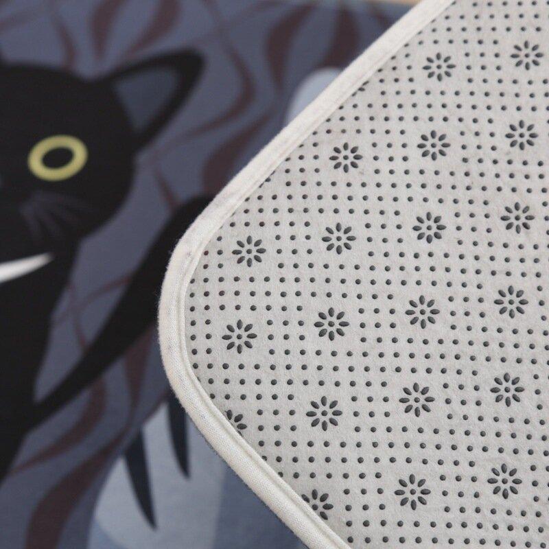 Kawaii Welcome Floor Mats Animal Cat Printed Bathroom Kitchen Carpets Doormats Cat Floor Mat for Livingroom Anti-Slip Tapete Rug
