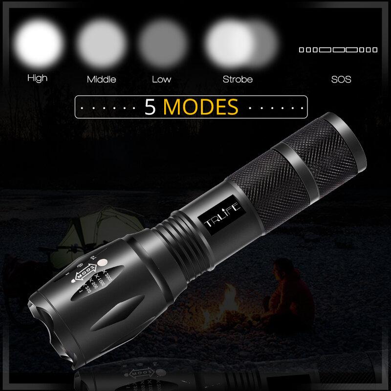 V6 t6 l2 전술 램프 토치 매우 밝은 led 손전등 200m 조명 캠핑 zoomable 손전등 5 모드 사용 18650 배터리
