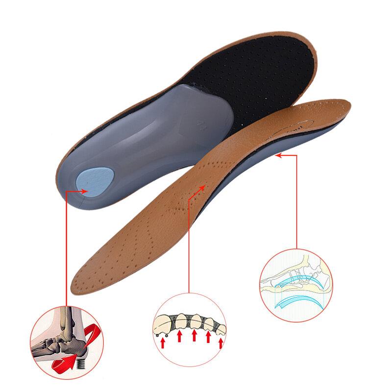 Plantillas ortopédicas de cuero 3D para hombres y mujeres, plantilla de soporte ortopédico con arco de pie plano, Premium