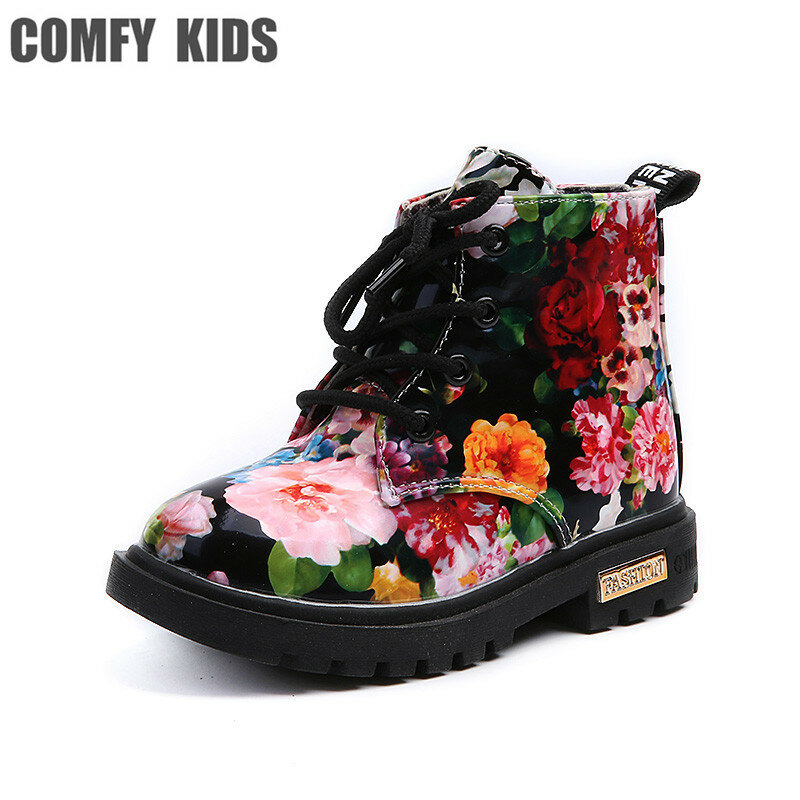 Fashion Martin Shoes Toddler Baby Girls Flower Printed Sneaker Boots Shoes